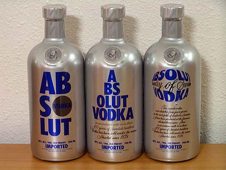 Absolut Chrome bottles from France